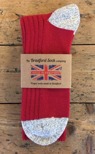 Cotton & Wool Socks - Red - Machine Washable.